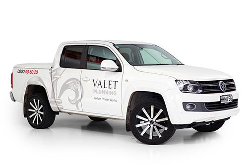 A white Valet Plumbing VW Ute